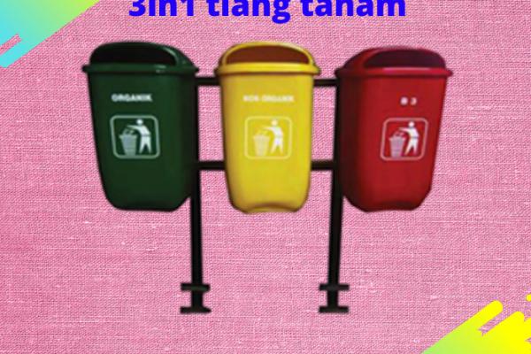 tong sampah fiber oval 3in1